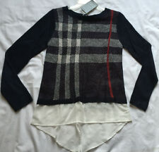 Como Black Acrylic Woven P8222RM Blue Plaid Knit Pull-Over Sweater Women's S new