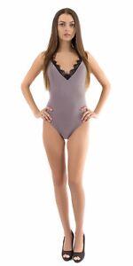 V Neck Eyelash Lace Trim Bodysuit   Adjustable Spaghetti Strap S,M,L Iris IT8552
