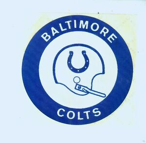 """Early 1970's Baltimore Colts NFL football 3 """" nylon decal"""