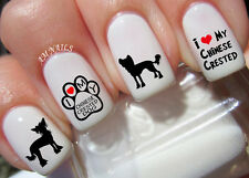 Chinese Crested Dog Nail Art Stickers Transfers Decals Set of 40