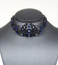 "17"" blue crystal victorian choker bib collar necklace boho 1.25"" earrings"