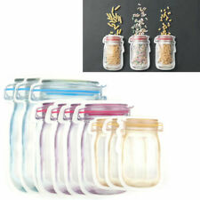 Pack of 10 Mason Jar Zipper Bags Food Storage Snack Sandwich Zip Seal Reusable