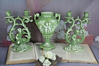 Set of 3 French Porcelain bisque Green PAIR Candle holder & vase putti cherub