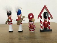 Vintage Wood Toy Soldiers Christmas Ornaments Lot Of 4