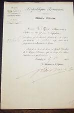 GENERAL BARAIL  lettre nomination pour la MEDAILLE MILITAIRE  en 1873