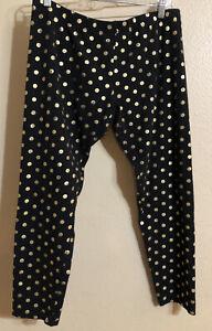 NoBo Womens Leggings Juniors XL 15-17 Black Gold Metallic Polka Dots Stretch