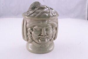 Vintage Antique Figural Pottery Tobacco Jar Humidor European Man 1800-1900's