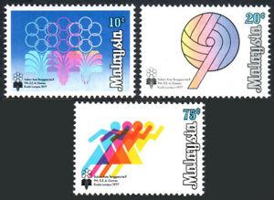 Malaisie 157-159, MNH Du Sud Est Asie Jeux. Emblème, Balle, Course, 1977