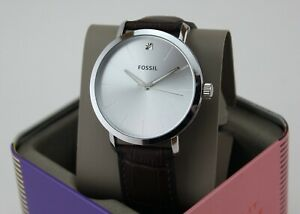 NEW AUTHENTIC FOSSIL LUX LUTHER SILVER BROWN LEATHER DIAMOND MEN'S BQ7018 WATCH