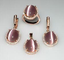 .925 Sterling Silver Purple Oval Cats Eye Jewelry Set
