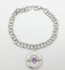 Signed RQC Sterling Silver 925 June EDA Heart Arrow Purple Charm Chain Bracelet