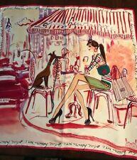 """HENRI BENDEL IZAK Illustration 34"""" Silk Scarf Girl & Whippet"""