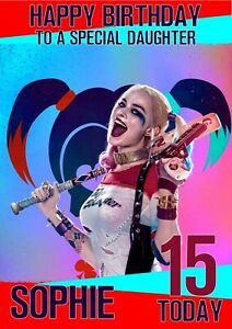 Personalised Birthday Card Harley Quinn any name/age/relation