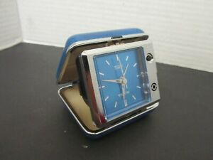 Bulova LiteAlarm Blue & Silver Toned Travel Clock