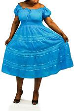 New Women's Plus Size Gypsy Boho Off the Shoulder Sun Dress - 8 Beautiful Colors