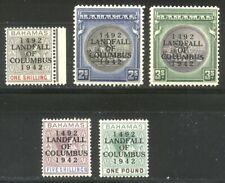 Bahamas #125-29 Mint - 1942 Overprints ($60)