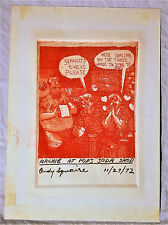 1972 ARCHIE & BETTY RED INK ETCHING COMIC PLATE  7 X 6''  SIGNED  ORIGINAL  RARE