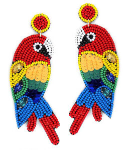 Parrot Earrings Seedbead Gem Lightweight Boho Inspired Seed Design Post or Clip
