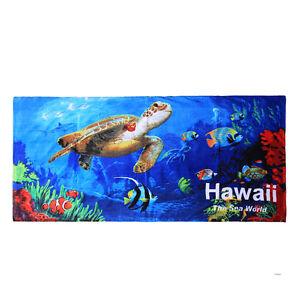 Hawaii Beach Towel 100% Cotton Large 60x30 Blue Sealife Fish Sea Turtle Shark