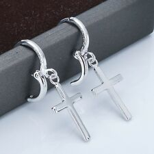 18k Gold Filled Lady's Charms Cross Earrings Women's Hoop Dangle Fashion Jewelry