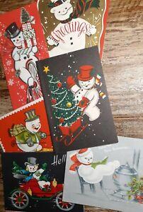 Lot 6 Vtg MCM Christmas Cards Busy Anthropomorphic Snowmen Bike Car Skis Music