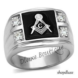 Men's Stainless Steel 316L AAA CZ Masonic Freemason Ring Band Size 8-14
