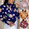 Women Long Sleeve Polka Dot Shirt Tops Ladies Bow Tie Neck Shirt Office OL Tops
