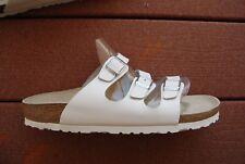 Unisex White BIRKENSTOCK Triple Strap Open Toe Backless Sandals Man 9 Woman 11