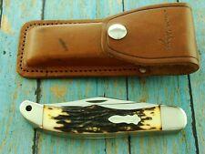 XL VINTAGE UNCLE HENRY SCHRADE USA 227UH FOLDING HUNTER KNIFE &SHEATH SET KNIVES