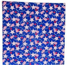 Bandanna with Stars & Flags on  Blue 100% Cotton #98-3 New Handmade