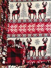 Plaid DEER Handmade Fleece Tie Holiday Winter Lodge BLANKET   LARGE 55x65