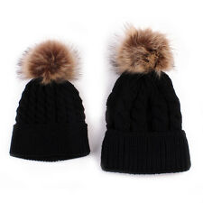 2Pcs Women Mother Baby Child Warm Winter Knit Beanie Fur Pom Hat Crochet Ski Cap