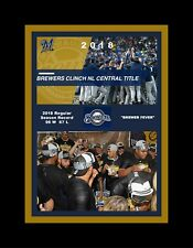 MILWAUKEE BREWERS WIN 2018 CENTRAL DIVISION CHAMPS MATTED SINGLE PHOTO COLLAGE