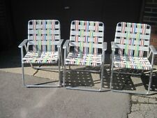 Vintage Webbed Aluminum Lawn Chairs (3)