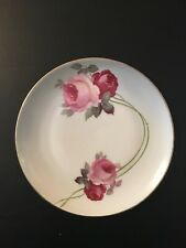 """Z.S. & Co. Bavaria red roses hand painted 8.5"""" plate"""