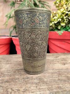 Vintage North Indian Brass Floral Engraved Lassi Glass Islamic Cup Kitchenware