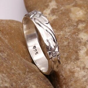 Silver Band Meditation Ring Solid 925 Sterling Ring All Sizes GESR80