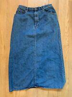 Vtg Liz Claiborne Denim Jean Midi Skirt Modest Prairie Womens Size 12P Petite