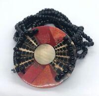 """Vintage Bracelet 7"""" Stretch African Black Beads"""