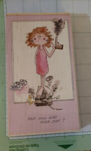 ! Stamps Happen, Bad Day. Woman, Scales, Bad hair day, Rubber Stamp cards,funny