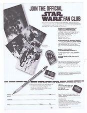Star Wars Official Fan Club Membership Application Form Unfolded 1980 Clean