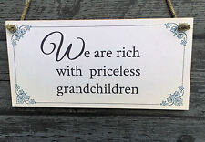 We are rich with priceless grandchildren Wooden Plaque - gift home vintage style