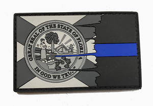 Tattered Subdued FLORIDA State Flag Thin Blue Line PVC Patch