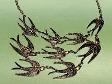 Statement Kette Vögel Schalben Farbe Gold Collier Halskette Blogger SR49
