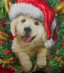 "2 Christmas Golden Retriever Puppy Dog Pillow Cover Case Home Decoration 18x18"""