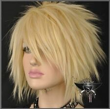 Hot Sell! Blonde Short Straight Spike Punk Cosplay Show Wig Fashion