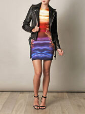McQ Alexander McQueen Celebrity Psychedelic Crystal Print Dress XL US 10