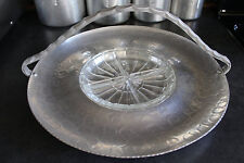 Large Aluminum Tray with Handle and Clear Glass Insert, Vintage Basket Platter