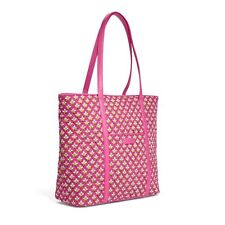 NWT Vera Bradley Trimmed Vera Petite Pink LARGE Zippered Tote Bag Free Shipping