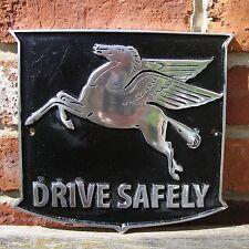 Mobil Pegasus Drive Safely PAINTED Cast Sign VW Hotrod Vintage NOS VAC047